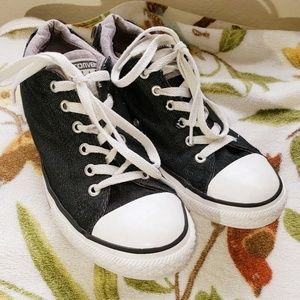Black denim converse sneakers shoes size 5